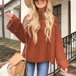 NEW Rust Turtleneck Cozy Sweater